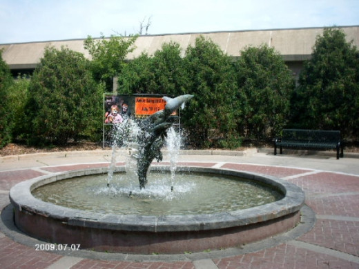 Dolphin Fountain at the entrance.