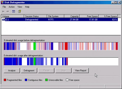 Windows XP disk defragmenter rounds up loose fragments and herds them back together where they belong