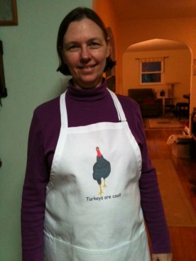 Here I am wearing the Turkeys are cool apron, that I purchased from CherylsArt on Zazzle.