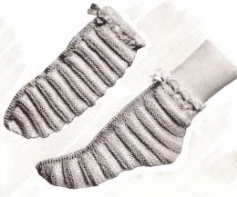 Knitting Pattern For Fancy Socks : Fancy Knitted Bed Socks Pattern