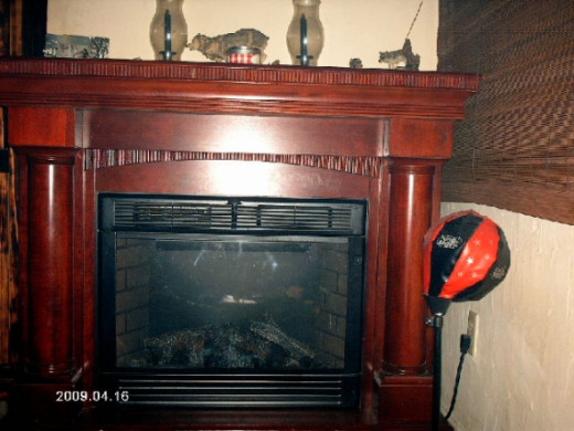 The electric fireplace.Photo copyright Shari O'Leary