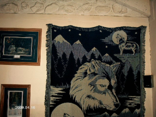 My howling wolf tapestry.  It's almost as cool as the dreamcatcher pictured at the top of this lens.Photo copyright Shari O'Leary