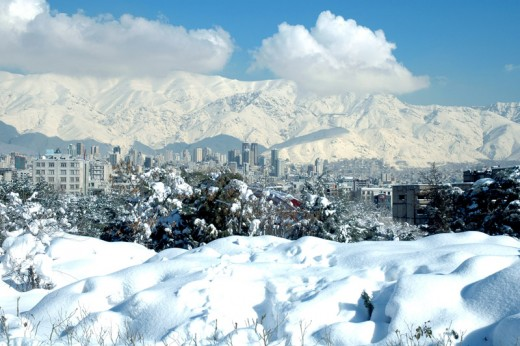 This is a photo of the north of Tehran with the mountains Alborz mountains to the rear.  Photo by Siamax and distributed under GNU Free Documentation License, Version 1.2.