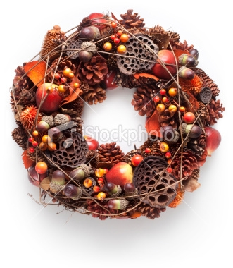 Use fall as your inspiration for a pine cone wreath of orange, gold, browns and yellow. For Christmas you can easily add more red if you like or just make another wreath!