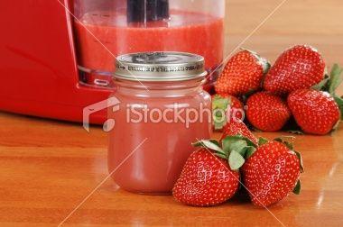 Puree fresh strawberries in the mini chopper