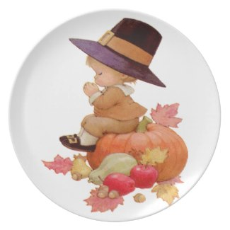 Vintage Pilgrim Boy Praying on Pumpkin Plate by Sandyspider on Zazzle