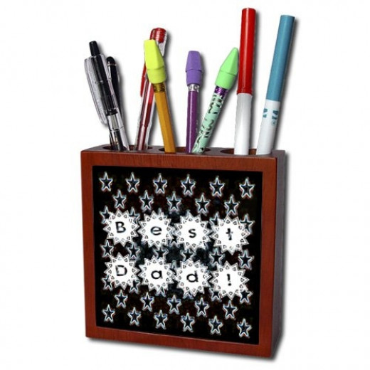 Best Dad with Stars Tile Pen Holder