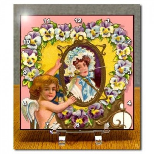 Vintage Valentine Cupid and Lady in Mirror Desk Clock