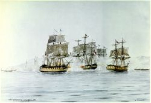 Watercolor by Edward Tufnell, depicting the Battle of Lake Champlain (from L-R) USS Saratoga, HMS Confiance, USS Eagle