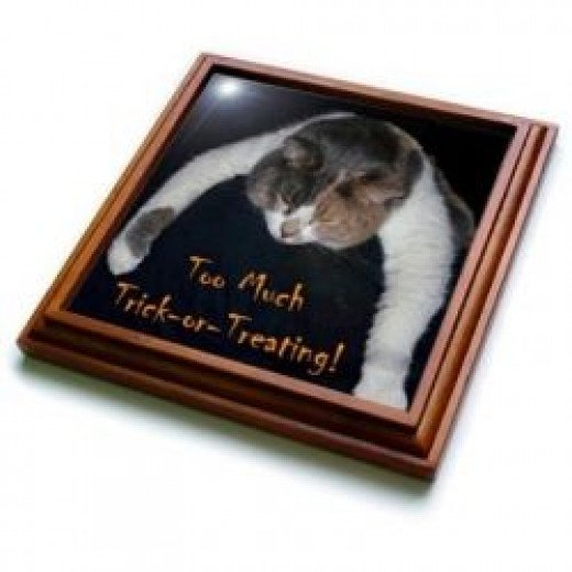 Too Much Trick-or-Treating Cat Trivet