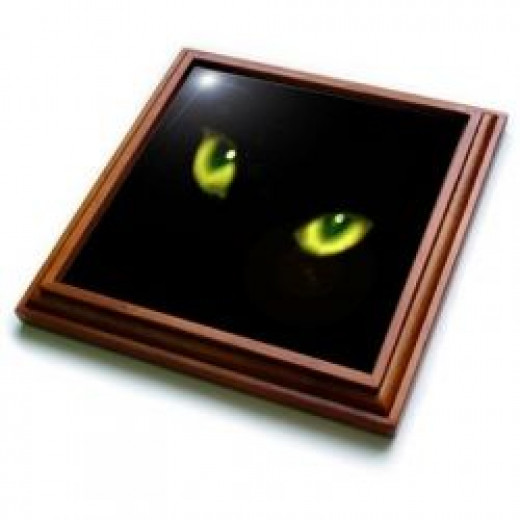 Green Eyes of a Black Cat Trivet