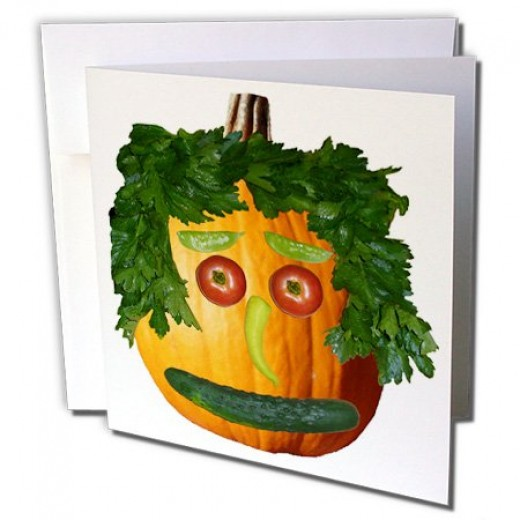 gc_6019_2 Sandy Mertens Halloween Food - Pumpkin Veggie Face - Greeting Cards-12 Greeting Cards with envelopes
