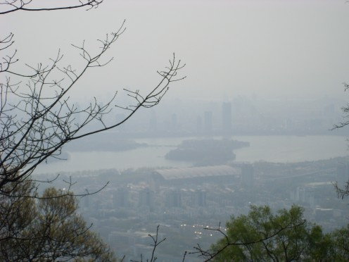 The view of Nanjing from the top of the mountain.  Note the glorious haze of air pollution.