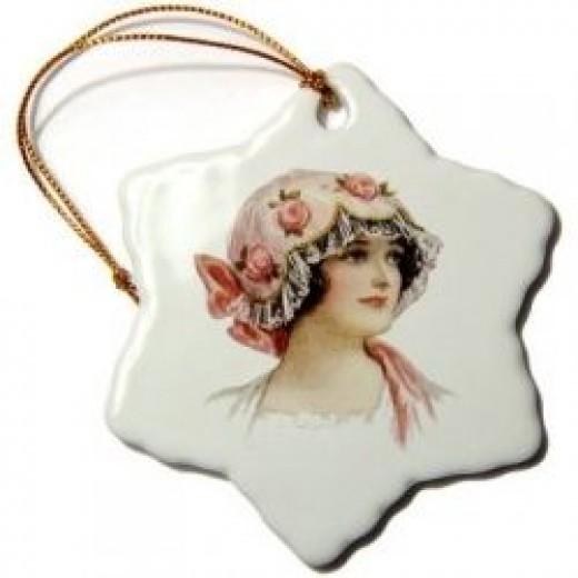 Sandy Mertens Vintage Women Ornament Page on 3DRose