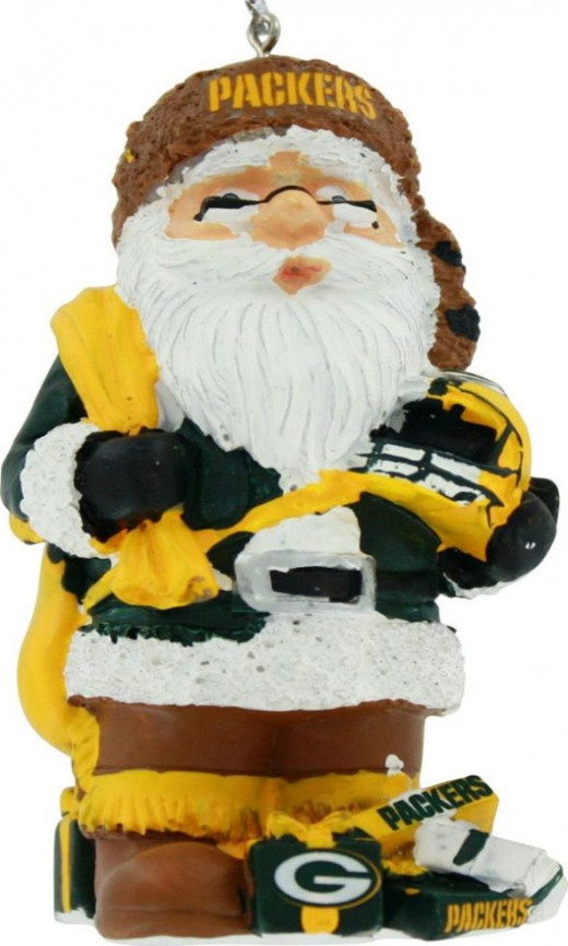 Green Bay Packers Thematic Santa Resin Christmas Tree Ornament