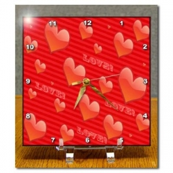 Love Heart Pattern Desk Clock of Hearts and Love