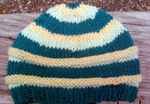 striped knitted baby hat