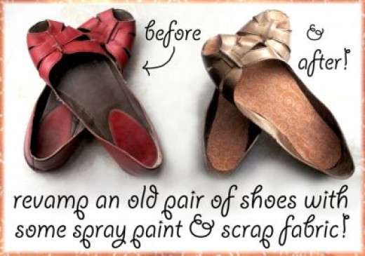 Spray painted shoes with fabric lining, before and after. Wow, what a difference!