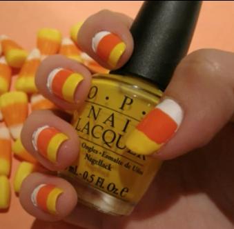 Cute candy corn manicure - Halloween nail art tutorial