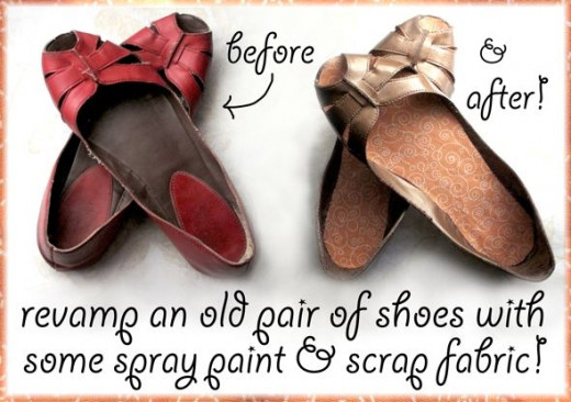 spray painted shoes with fabric lining, before and after