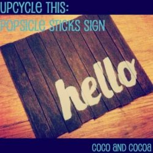 DIY 'hello' sign with popsicle sticks, tutorial by Coco&Cocoa