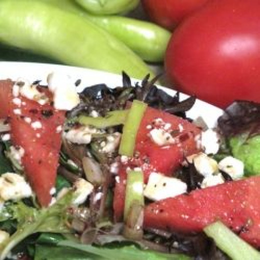 Watermelon Summer Salad with Feta and Spicy Vinaigrette recipe