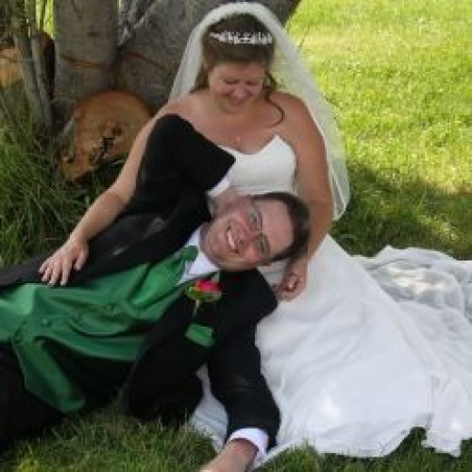 Bride and groom relaxing after the wedding.