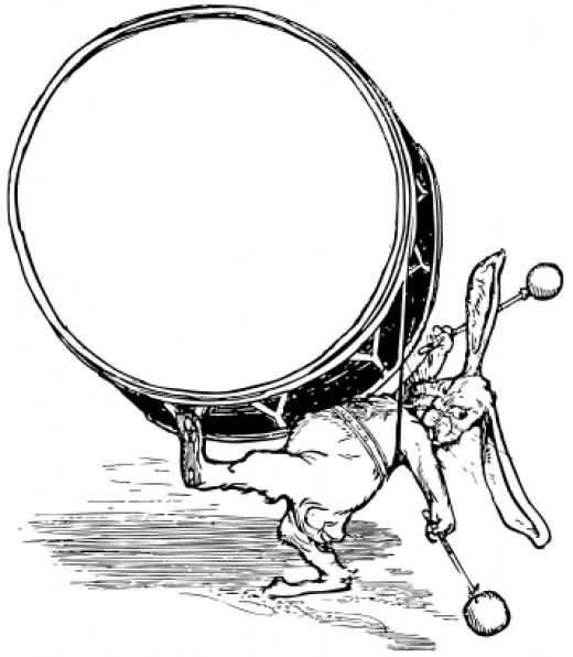 Public Domain rabbit with drum picture.