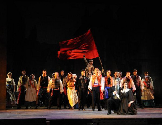 scene from Les Miserables the musical