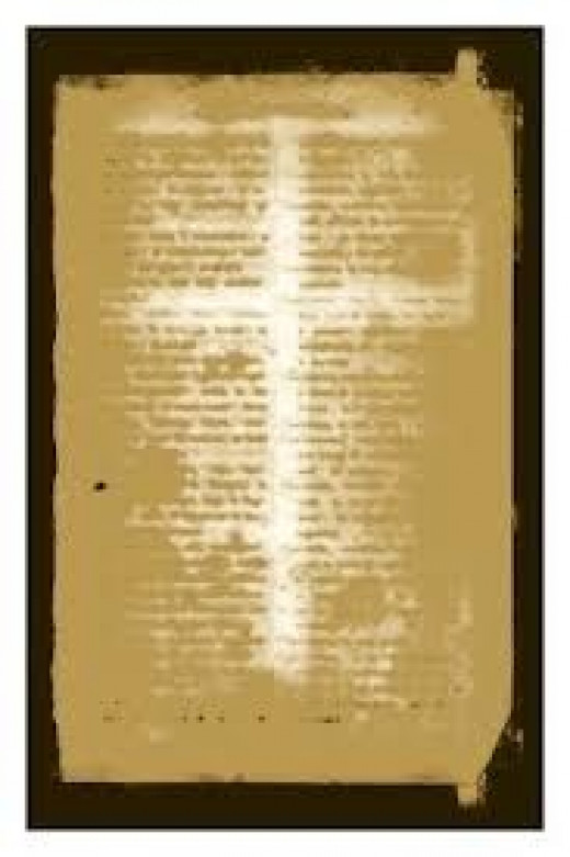 ancient manuscript with impression of cross