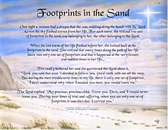 """Footprints  in the Sand"" poem"