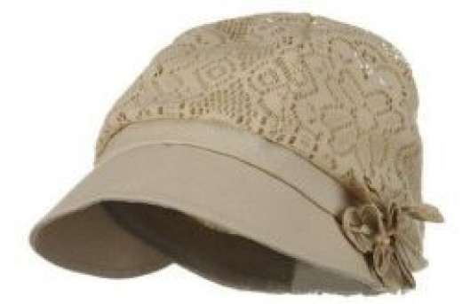 Ladies Jacquard Mesh Newsboy Hat - Khaki_Flower W15S61C