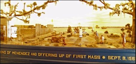 Diorama of the first mass; St. Augustine, Florida