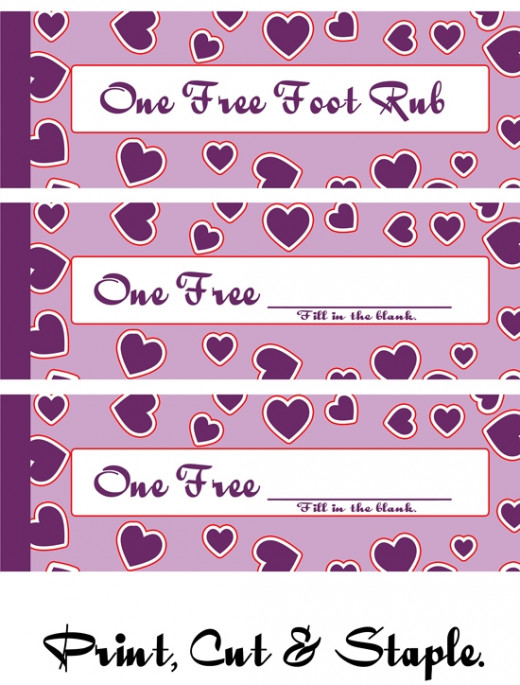 Free Love Valentine Coupons. Free Foot Rub & Free Blanks.