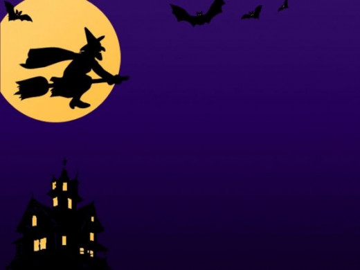 Witch, Broomstick, Bats, & Haunted House