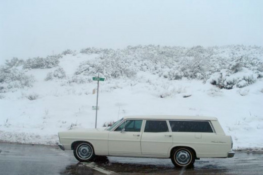 The 1967 Ford Station Wagon and snow