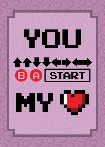 Cheat code Valentine card: up-up-down-down...