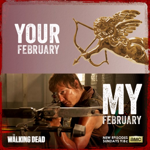 Daryl is so much hotter than Cupid! From The Walking Dead on Facebook.