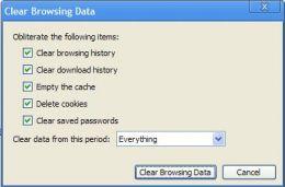 Clear browsing data window