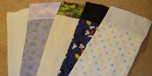 Crazy fabric combinations in individually-made pillowcases to appeal to pediatric patients.