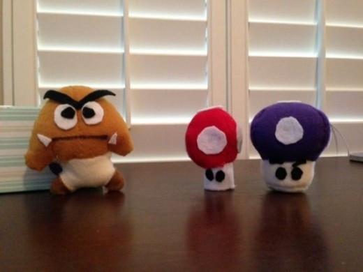 Goomba with Red Mushroom and Purple Mushroom