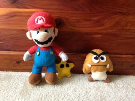 Purchased Mario plush with handmade Star and Goomba