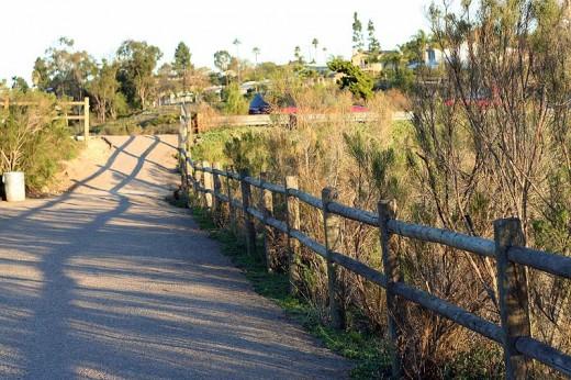 Fence on walkway at Lake Murray.