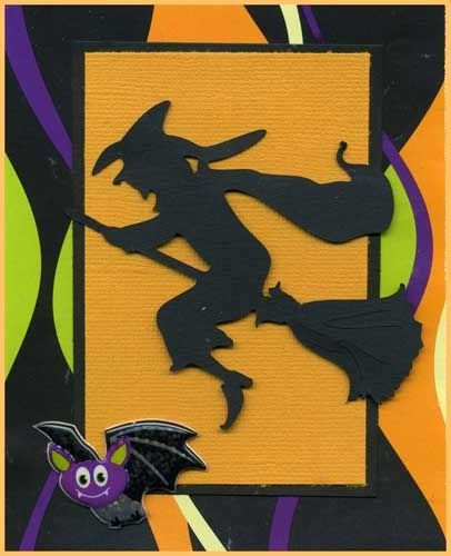Halloween Card With Black Witch Silhouette