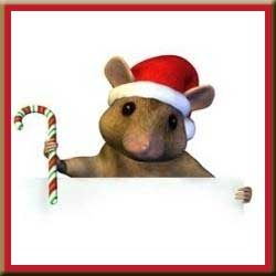 Clipart Chipmonk Wearing Santa Hat and Holding Candy Cane