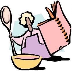 Cartoon Picture of Woman with Cookbook