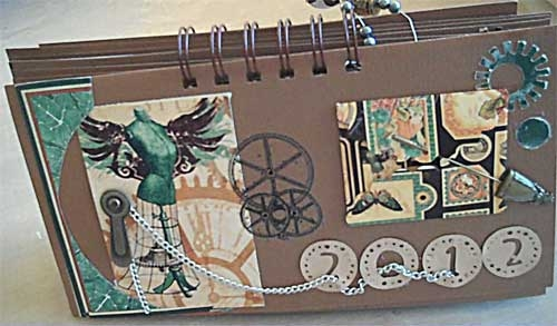 Steampunk Calendar with Embossed Gears and Such
