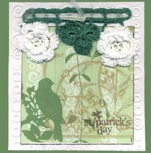 St. Patrick's Day Card with Crocheted Shamrocks and Irish Roses