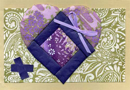 Asian themed heart card with Washi paper quilting.