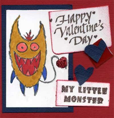 Monster Valentine card for child.